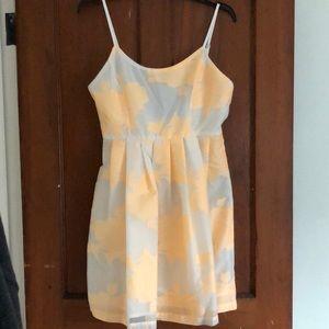 Dresses & Skirts - White and orange floral babydoll scoop back dress